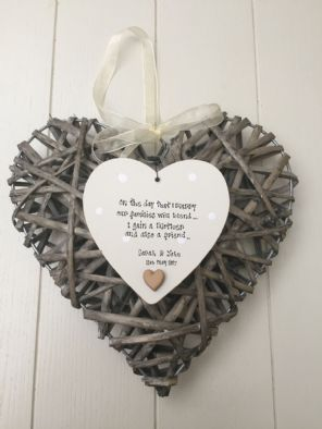 Mother Of The Bride From Groom Shabby Personalised Chic EXTRA LARGE Heart Willow